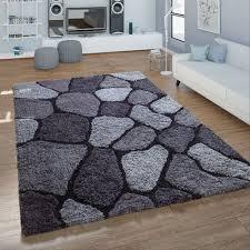 hochflor wohnzimmer teppich shaggy konturenschnitt stein design in anthrazit