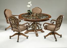 5 Piece Dinette Set With Caster Chairs | Cherry Finish ... Oak Ding Chairs Ding Room Set With Caster Chairs Wooden Youll Love In Your The Brick Swivel For Office Oak With Casters Office Chair On Casters Art Fniture Inc Valencia 2092162304 Leather Brooks Rooms Az Of Fniture Terminology To Know When Buying At Auction High Back Faux Home Decoration 2019 Awesome Hall Antique Kitchen Ten Shiloh Upholstered Pisa Gray Ikea Ireland Cadejiduyeco