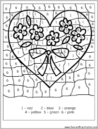 Joyous Coloring Pages By Number Color Numbers Valentine Heart