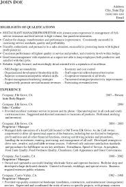 Restaurant Worker Resume Sample For Manager Job Download Regarding Template Cool