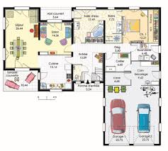 plan maison plain pied 3 chambres en l plan maison en l avec garage pour 2 voitures plans maisons