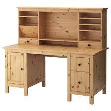 bureau en bois hemnes bureau avec élément complémentaire brun clair 155x137 cm ikea