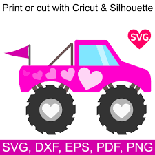 Pink Monster Truck SVG File With Hearts To Make Shirts, Invitations ...