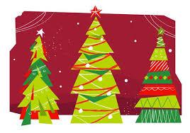 Mid Century Christmas Trees Vector Illustration