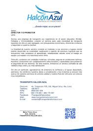Carta De Presentacion Transporte Escolar By TRANSPORTE HALCON AZUL