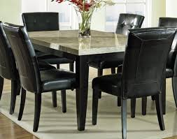 Dining Room Five Square Soften Cushions Black Stained Pine Wood Table Mahogany Counter Height Farmhouse