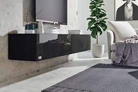 wuun 180cm schwarz hochglanz korpus schwarz matt 8 größen 5 farben tv lowboard tv board hängend hängeschrank wohnwand somero
