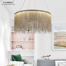 moderne quaste kreis aluminium kette led pendelleuchte le bar wohnzimmer splitter gold ac90 260v neuheit leuchten