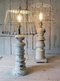 Distressed White Baluster Style Table Lamps French Farmhouse Large Lamp Set Basket Lampshades Ooak Salvaged Home