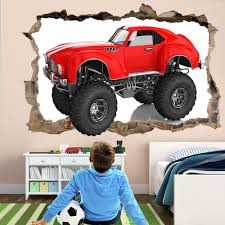 100 Monster Truck Kids 3D Wall Art Sticker Decal Boys Room Decor GZ13