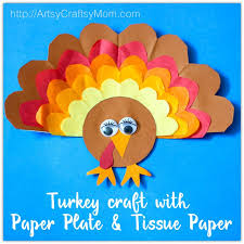 Paper Plate Thanksgiving Turkey Craft With Tissue Is A Fun To Make For
