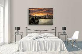 kunst charles bridge canvas cityscape orange sky landscape