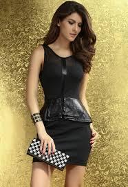 black mesh faux leather accent peplum dress