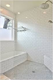 Tiling A Bathtub Deck by Bathroom Transitional Austin Corner Bench Seat Glass Shower Panel