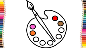 How To Draw An Art Palette And Paint Brushes