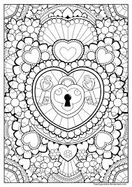 Coloring Page Heart Lock And Keys