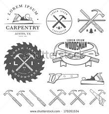 Set Of Vintage Carpentry Tools Labels And Design Elements