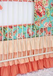 Navy And Coral Crib Bedding by Coral Camilla Ruffle Baby Bedding Caden Lane