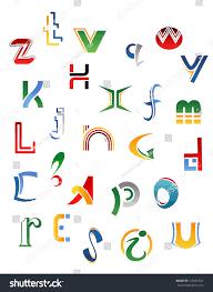 Set Symbols Letters Icons Alphabet Design Stock Vector