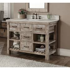 48 inch Rustic Bathroom Vanity Matte Ash Grey Limestone Top