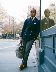 double breasted navy blazer striped prep tie style hunt