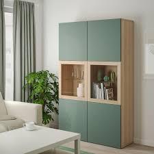 bestå vitrine eicheneff wlas notviken klarglas graugrün 120x42x192 cm