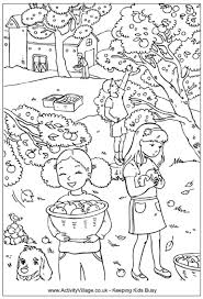 Picking Apples Colouring Page