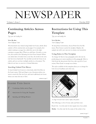 Newspaper Front Pages Template For Word Editable Blank