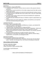 Restaurant Server Resume Examples Example Of A Resumes Cafe Template Waiter