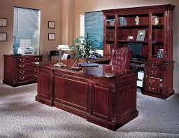 Vintage Luxury Home Office Furniture Sets With Brown Wooden Also Window Blinds