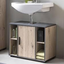 bad adria waschbecken unterschrank 65 cm breit mit 1 tür und 4 fächern korpus eiche sand dekor absatz graphit