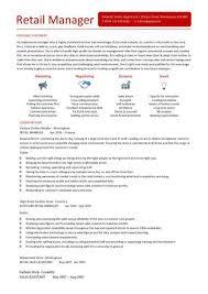 retail manager cv template resume exles description