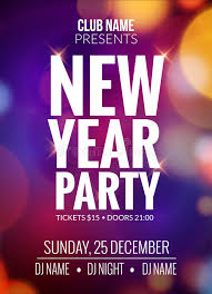Download New Year Party Design Banner Event Celebration Flyer Template Bokeh Lights
