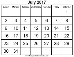 Free Printable Calendars for free July 2017 calendar