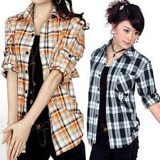 Free Shipping 2016 New Fashion Blouses For Women Plaid Shirts Ladies 100 Cotton Checked Shirt