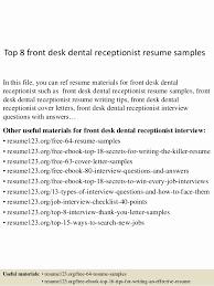 Dental Front Office Resume Objective Luxury Top 8 Desk Receptionist Samples