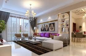 deko für wohnzimmer weißes sofa in kombination mit lila