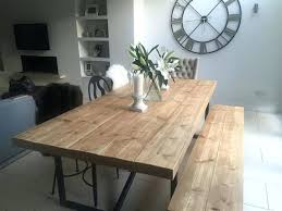 Industrial Style Dining Room Table Reclaimed Wood And Benches Throughout Ideas