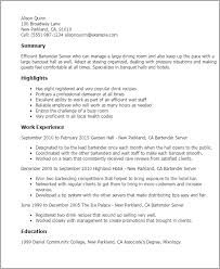 Bartending Resumes Examples Fresh Bartender Samples Resume Example With Regard To Sample