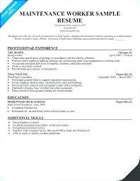 Maintenance Job Description Resume Worker Sample Technician