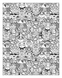 Free Coloring Page Adult Owls