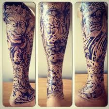 Japanese Style Leg Sleeve Tattoosbylue Blasted Handdrawnjales Freehandart