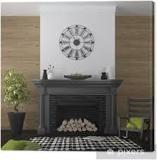 leinwandbild wohnzimmer mit kamin und schwarz grün dekor