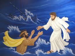 Bible Murals For Kids Jesus Christ Walking On Sea Water Picture