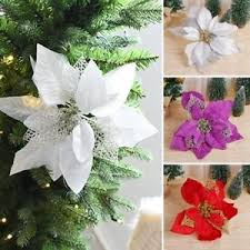 Image Is Loading Artificial Flowers Engraved Gold Poinsettia Wreath Christmas Tree