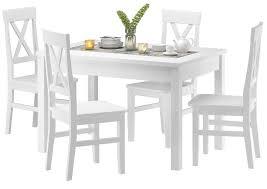 esszimmergarnitur massivholz weiß mit tisch und 4 stühlen 90 70 51 c w set 23