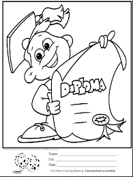 Coloring Pages Kindergarten Graduation Print Printable Free Hello Kitty First Day Of School