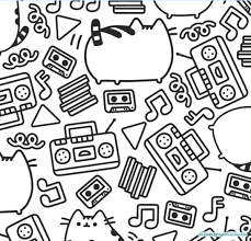 Pusheen Coloring Pages For Kids Throughout Page
