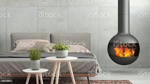 innen moderne schlafzimmer wandschablone mit kamin stockfoto und mehr bilder aktenmappe