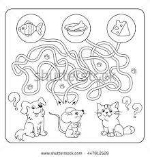 Maze Or Labyrinth Game For Preschool Children Puzzle Tangled Road Matching